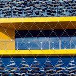 multicoloured panels with pressed aluminium