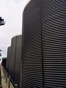 Aluminium louvres on large building