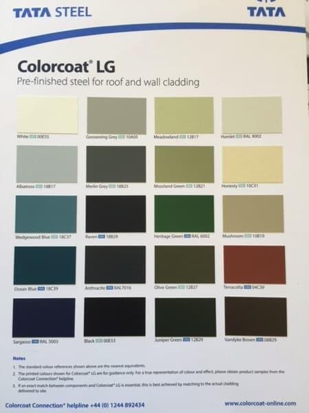 Colorcoat chart