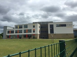 outside of a school with aluminium panels